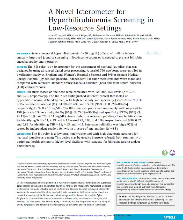 A Novel Icterometer for Hyperbilirubinemia Screening in Low