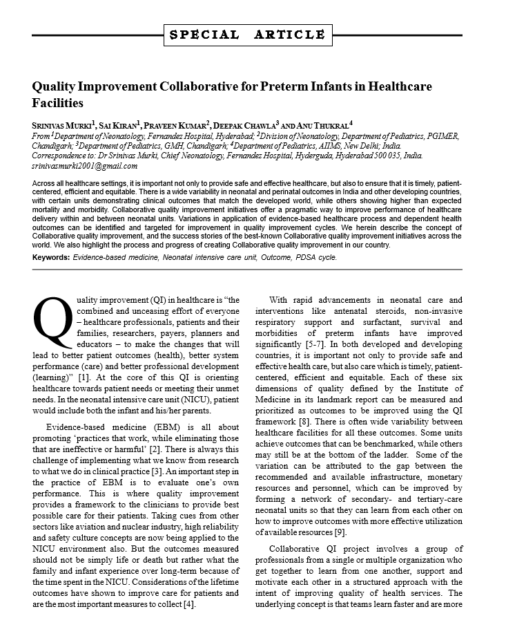 Quality Improvement Collaborative for Preterm Infants in