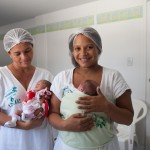 Elvira and Ana Cristina (L-R) hold their premature babies at the hospital in Petrolina, Brazil, where they have been taught about the importance of exclusive breastfeeding.  (Photo by Genna Naccache)