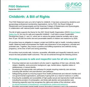"""First page of """"Childbirth: A Bill of Rights"""""""