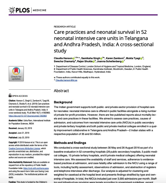 Care practices and neonatal survival in 52 neonatal