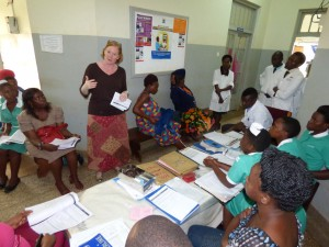 Ms Elizabeth Butrick, the senior program manager Preterm Birth initiative East Africa introducing the WHO safe childbirth checklist to health workers at the Jinja Regional Referral Hospital in Uganda
