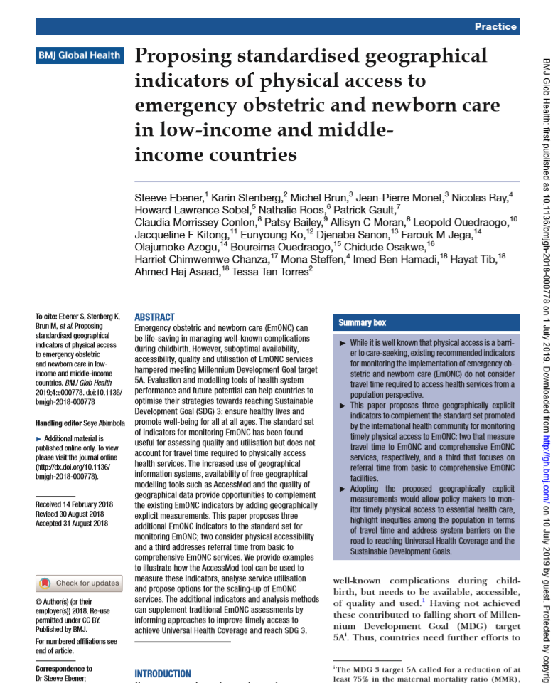Proposing Standardised Geographical Indicators Of Physical Access To Emergency Obstetric And Newborn Care In Low Income And Middle Income Countries Healthy Newborn Network