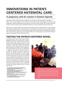 Innovations in Patient-Centered Antenatal Care: A ...